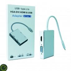 4 in 1 Tip C HDMI VGA DVI USB 3.1 USB-C Dönüştürücü Kablosu